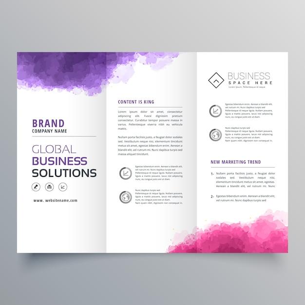 Brochure d'affaires trifold abstrait avec effet aquarelle Vecteur Premium
