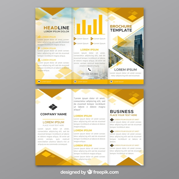 Brochure d'affaires à trois volets jaune Vecteur gratuit