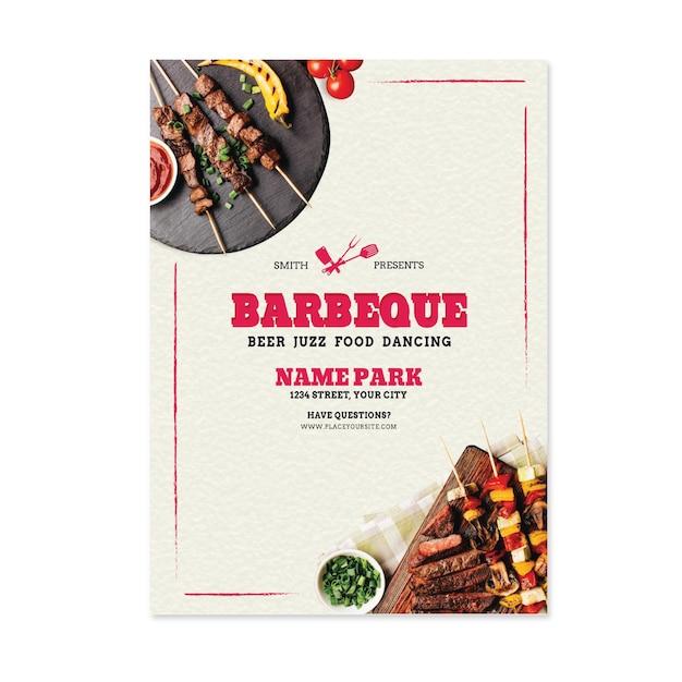 Brochure Sur Le Barbecue Des Aliments Frais Grillés Vecteur gratuit