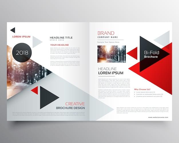 Brochure Bifold D'affaires Ou Modèle De Conception De Couverture De Magazine Avec Motif Triangulaire Géométrique Vecteur gratuit