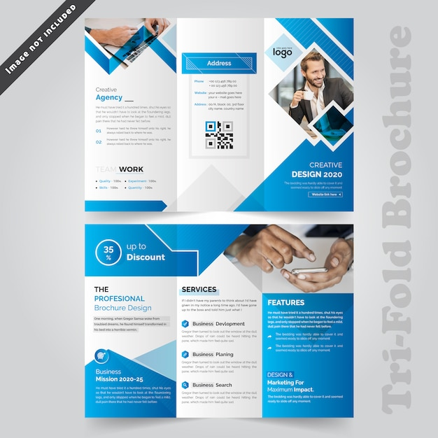 Brochure bleue à trois volets Vecteur Premium