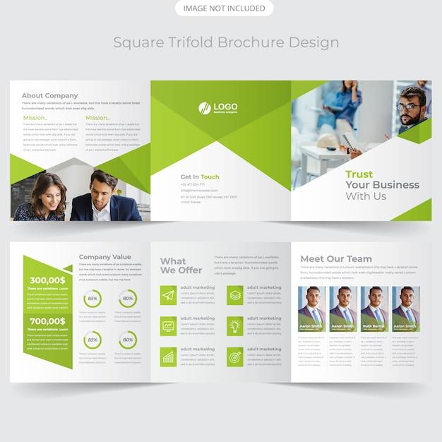 Brochure Carrée à Trois Volets Vecteur Premium