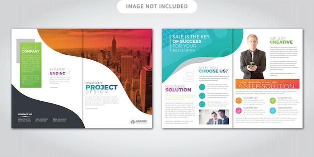 Brochure colorée à deux volets Vecteur Premium
