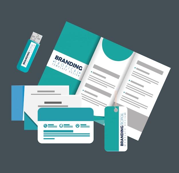 Brochure Commerciale Avec Cartes Et Mémoire Usb Avec étiquette Vecteur Premium