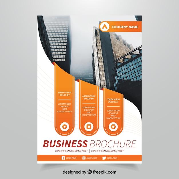 Brochure Commerciale Géniale Avec Des Formes Orange Vecteur gratuit