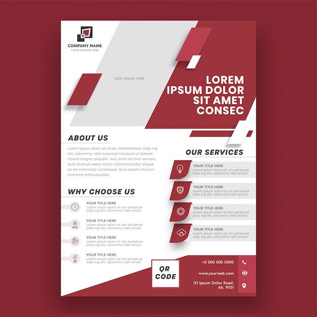 Brochure Commerciale De Modèle De Mise En Page De Couleur Rouge Et Blanc, Modèle Ou Conception De Flyer. Vecteur Premium