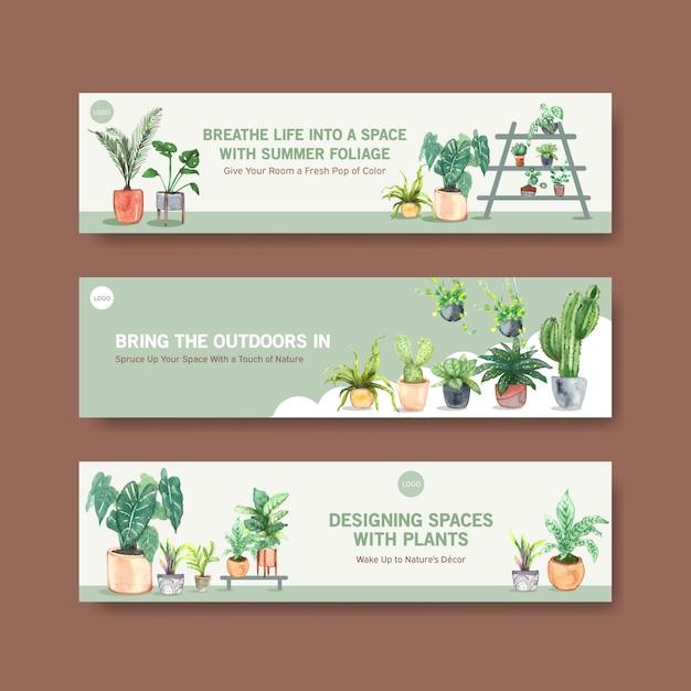 Brochure De Conception De Modèle De Bannière De Plantes D'été, Dépliant, Publicité Et Livret Illustration Aquarelle Vecteur gratuit