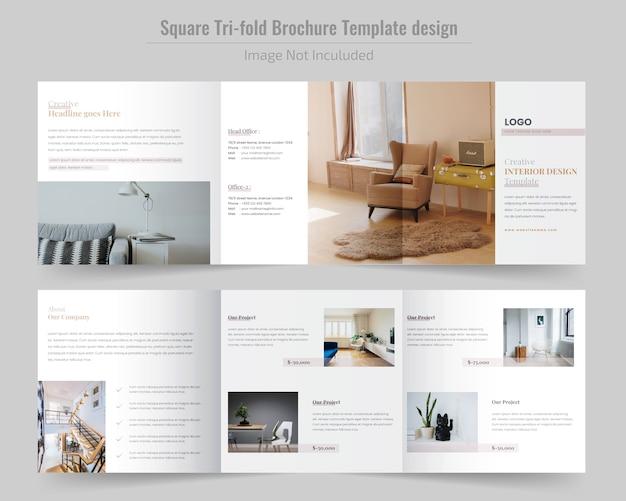Brochure construction square tri fold Vecteur Premium