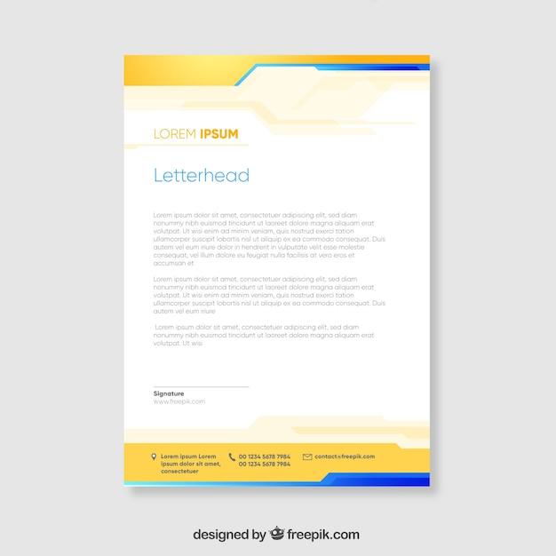 Brochure corporative jaune et bleue aux formes ondulées Vecteur gratuit