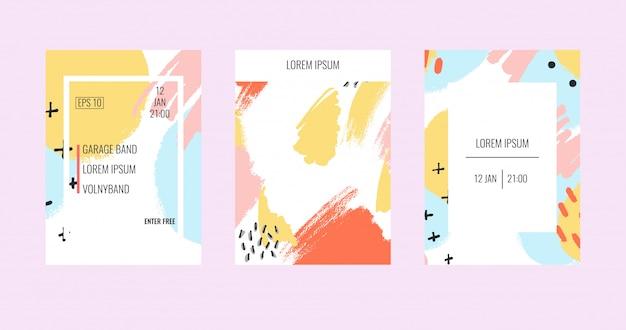 Brochure créative avec des arrière-plans pastels abstraits. Vecteur Premium