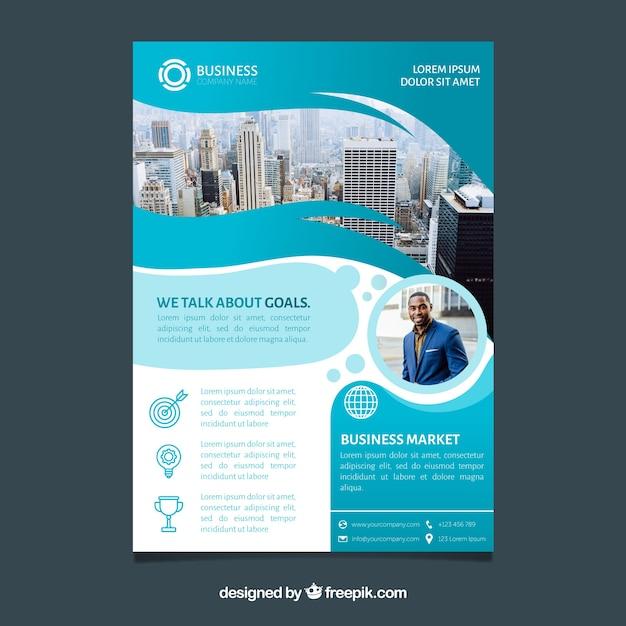 Brochure d'affaires en format A5 avec un style plat Vecteur gratuit