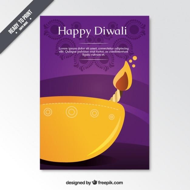 Brochure du festival de diwali violet Vecteur gratuit