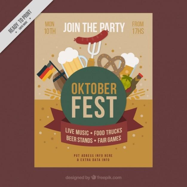 Brochure avec des éléments typiques pour le festival oktoberfest Vecteur gratuit