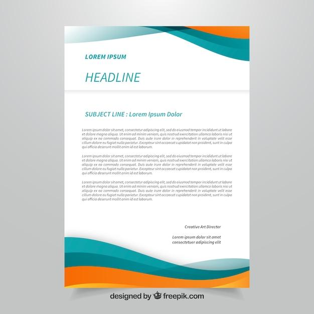 Brochure d'entreprise bleue et orange avec formes abstraites Vecteur gratuit