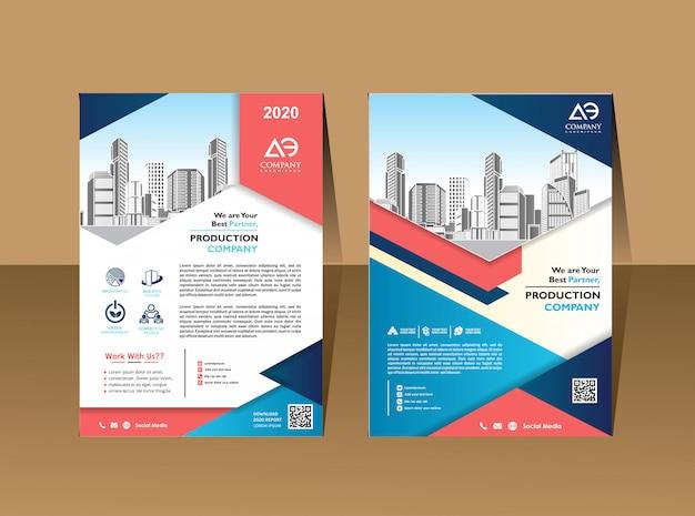 Brochure d'entreprise modèle de conception de fond flyer layout poster magazine rapport annuel Vecteur Premium