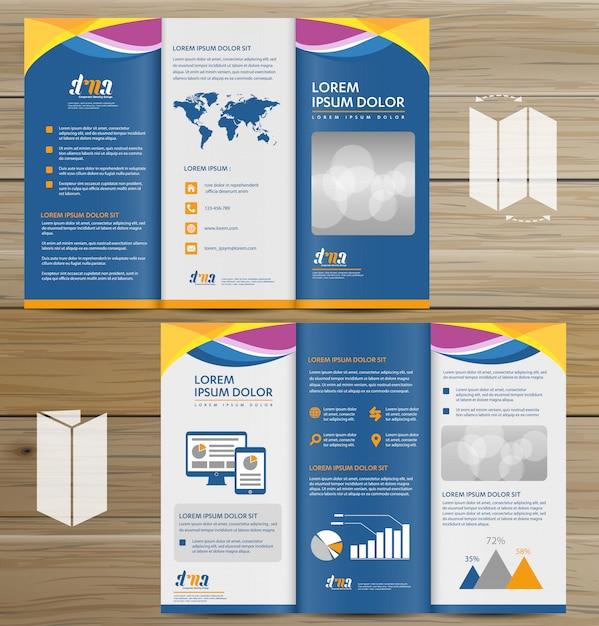 Brochure entreprise tri fold leaflet flyer conception de vecteur Vecteur Premium