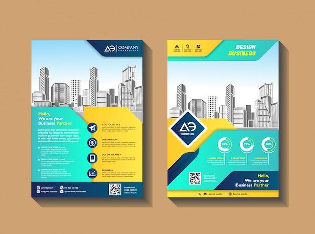 Brochure flyers design modèle entreprise profil magazine affiche rapport annuel couverture de livre et livret Vecteur Premium