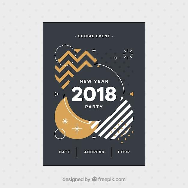 Brochure des formes abstraites de 2018 Vecteur gratuit