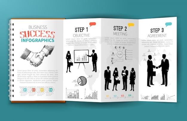 Brochure infographie commerciale Vecteur gratuit