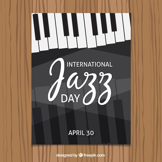 Brochure internationale d'une journée de jazz avec des touches de piano Vecteur gratuit