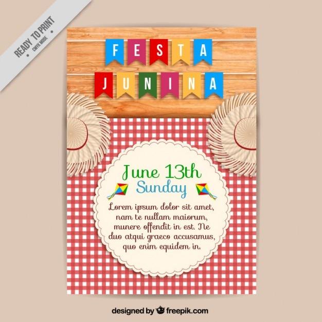 Brochure junina festa mignon avec une nappe à carreaux Vecteur gratuit