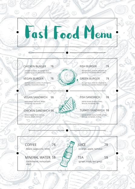 Brochure de menu de restaurant avec graphique dessiné à la main Vecteur Premium