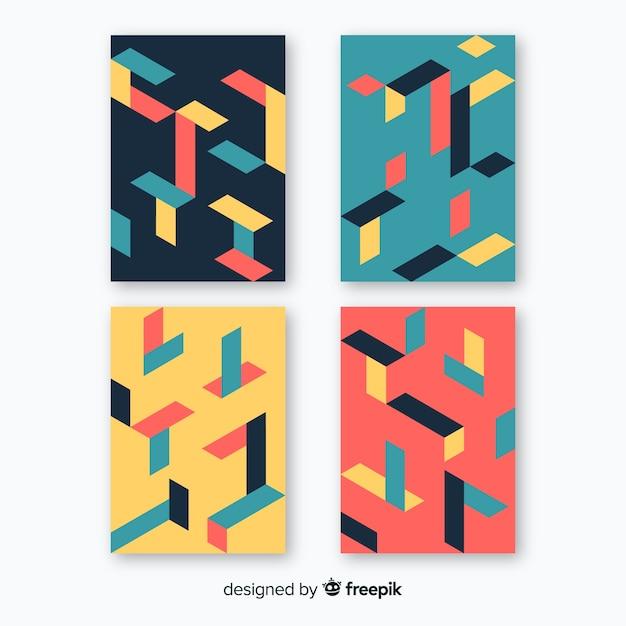 Brochure de motif coloré isométrique Vecteur gratuit