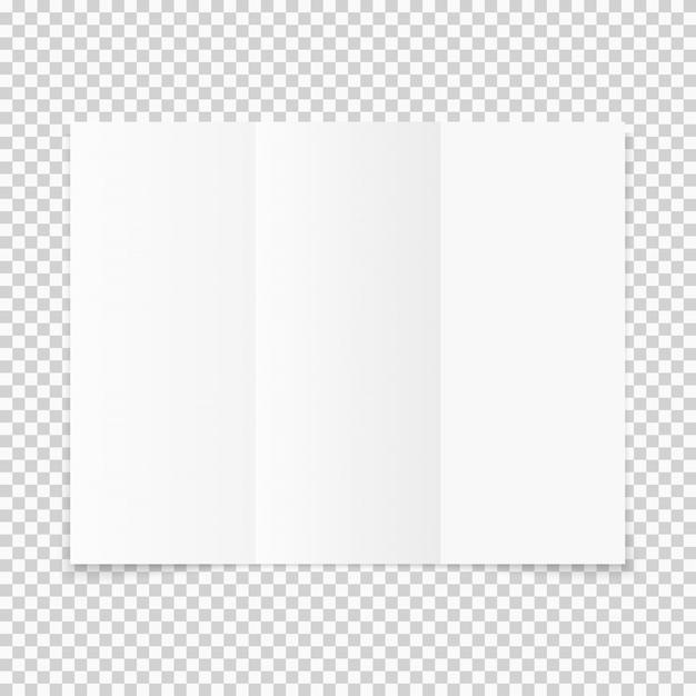 Brochure de papier blanc triple pli avec ombre Vecteur Premium
