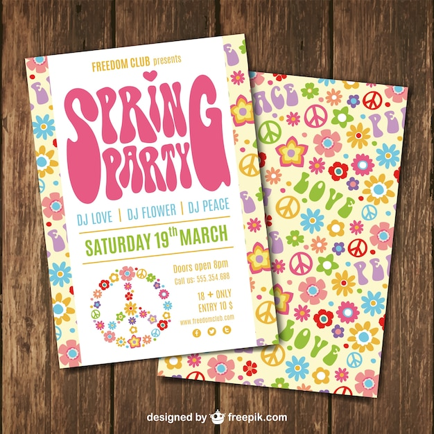 Brochure Printemps Fête Dans Le Style Hippy Vecteur gratuit