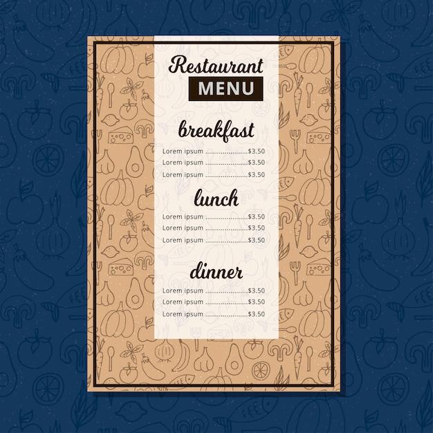 Brochure de restaurant de menu de café. Vecteur Premium