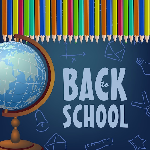 Brochure de retour à l'école avec des crayons de couleur, globe Vecteur gratuit