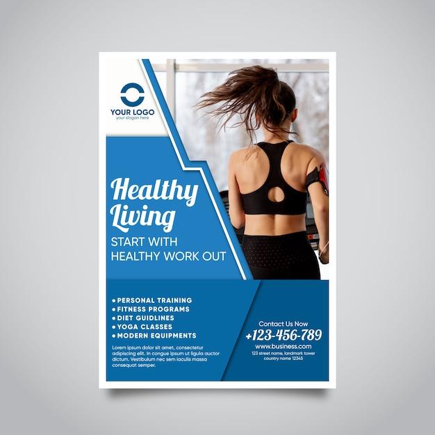 Brochure Sport Avec Photo Vecteur gratuit