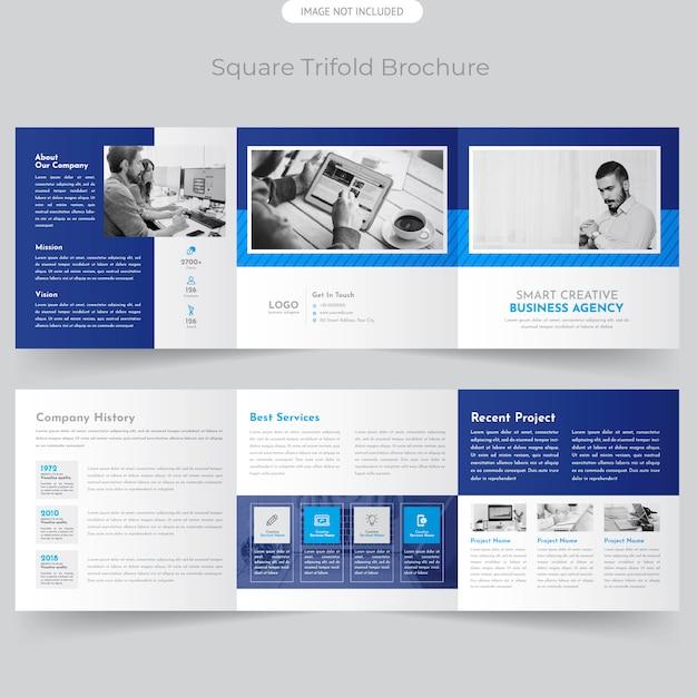 Brochure Trifold Square Professionnelle Vecteur Premium