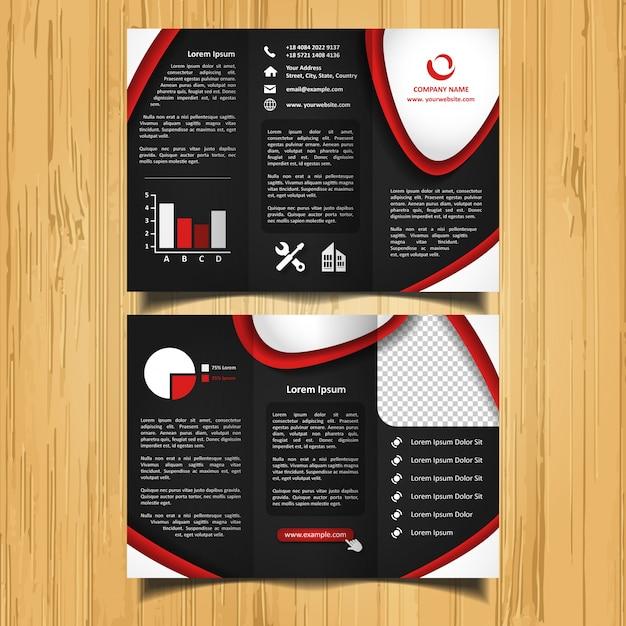 Brochure à trois feuilles de courbes rouges et blanches Vecteur Premium