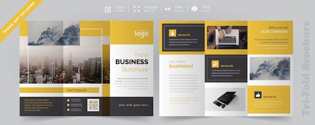 Brochure à trois volets jaune Vecteur Premium