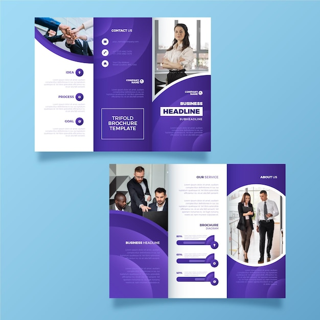 Brochure à Trois Volets De Style Abstrait Avec Photo Vecteur gratuit