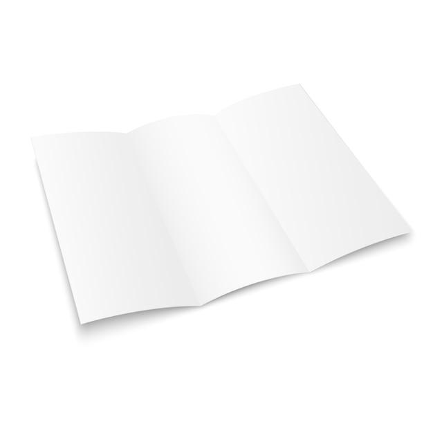 Brochure à trois volets vierge. livre blanc de la brochure. brochure en papier triple pour votre conception. Vecteur Premium