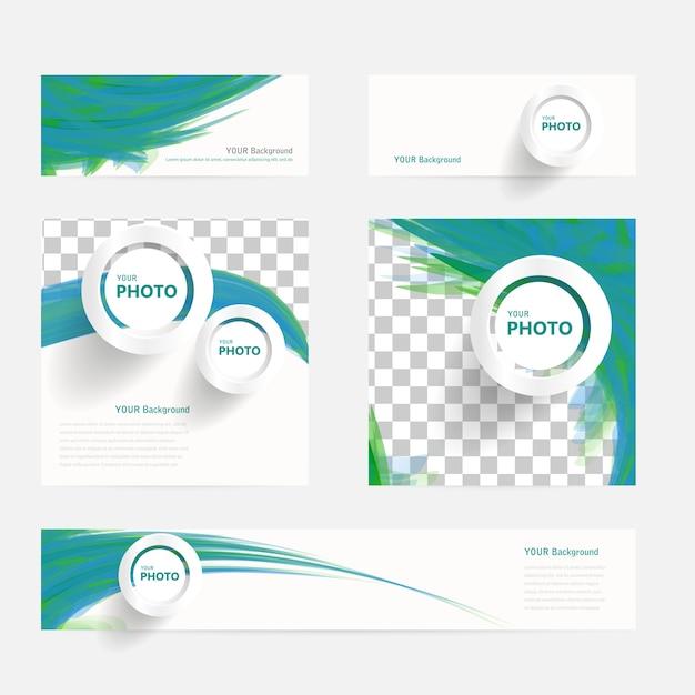 Brochure vectorielle avec cercles et vagues Vecteur gratuit