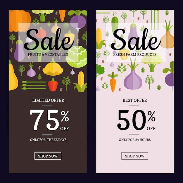 Brochure De Vente Vecteur Légumes Plat Magasin Végétalien, Modèles De Bannière. Illustration De Vente De Cartes Vegan Vecteur Premium