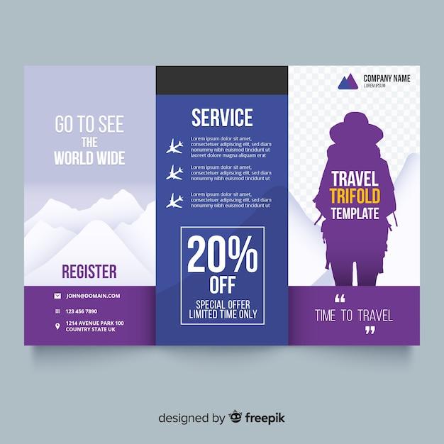 Brochure de voyage à trois volets Vecteur gratuit
