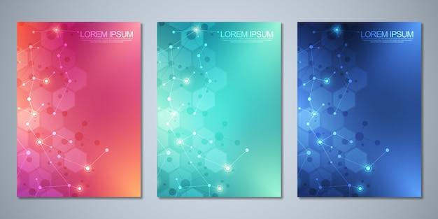 Brochures De Modèle Ou Couverture, Livre, Flyer, Avec Fond De Molécules Vecteur Premium