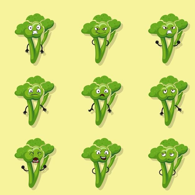 Brocoli émotions négatives. jeu de caractères de style de dessin animé de vecteur d'illustration Vecteur Premium