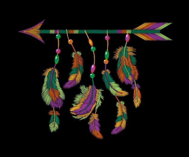 Broderie flèche de plumes colorées, modèle indien américain de vêtements tribal boho Vecteur Premium