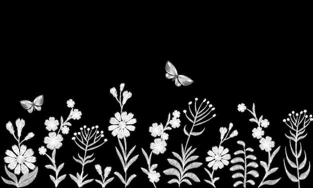 Broderie de fleurs de champ monochromes noir et blanc. Vecteur Premium