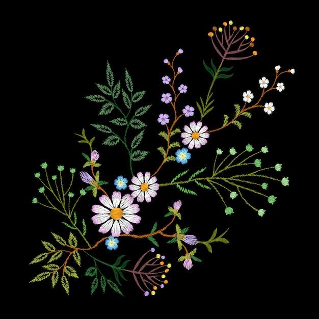 Broderie Tendance Motif Floral Petites Branches Marguerite Aux Herbes Vecteur Premium