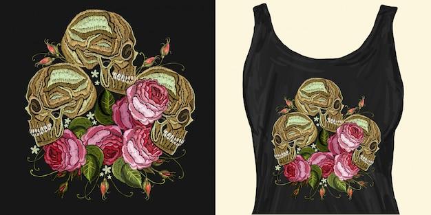 Broderie Trois Crânes Et Fleurs Roses Vecteur Premium