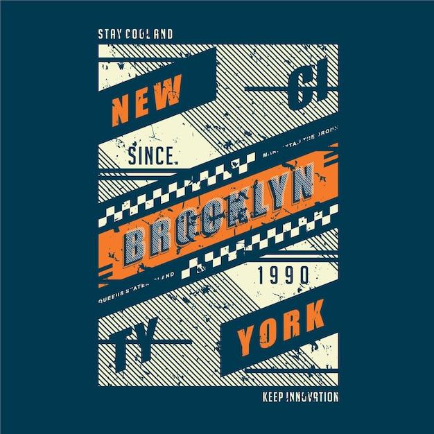 Brooklyn New York City Typographie Graphique Conception Abstraite Vecteur Premium