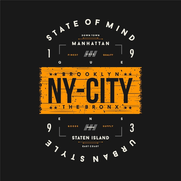 Brooklyn, Ny City Text Frame Illustration De Typographie Graphique Pour T-shirt Imprimé Vecteur Premium