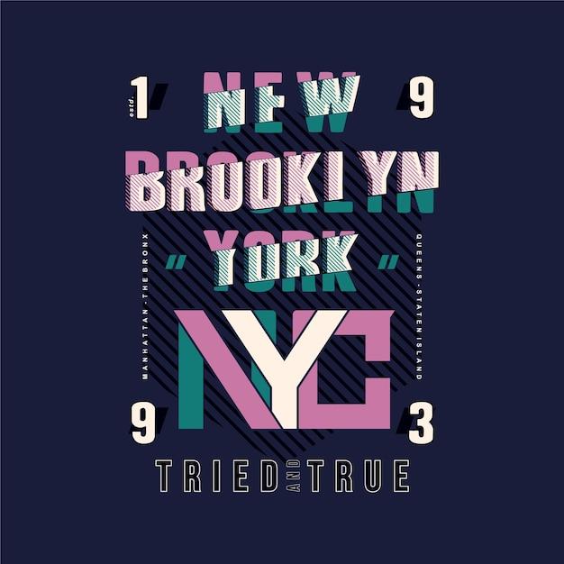 Brooklyn, Nyc Lettrage Typographie Rayé Dessin Abstrait Vecteur Premium