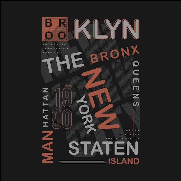 Brooklyn Texte Cadre Graphique T-shirt Illustration De Typographie Cool Vecteur Premium